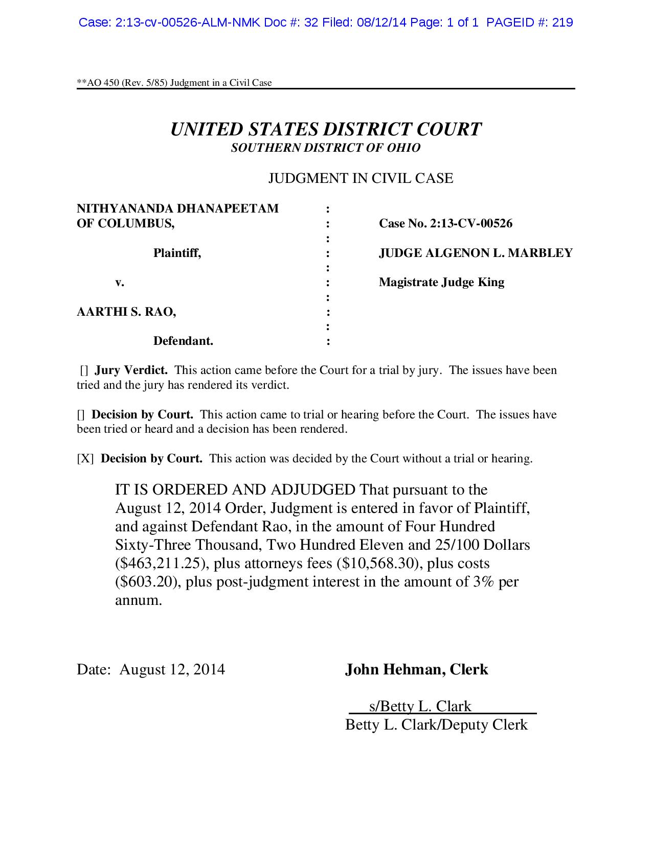 U.S. Federal Court issued against Aarthi S. Rao